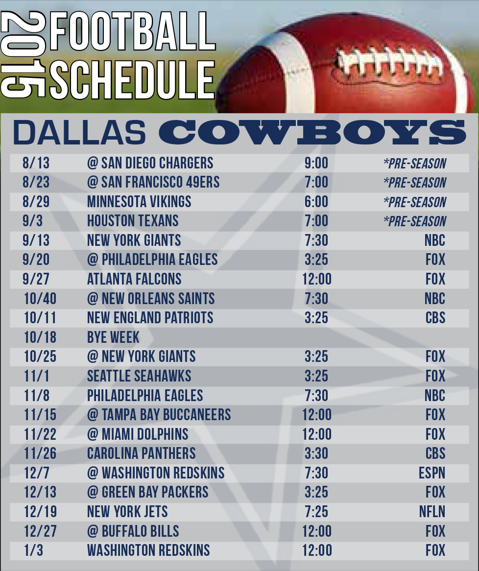 dallas cowboys schedule for 2015-2016 - minteer real estate team