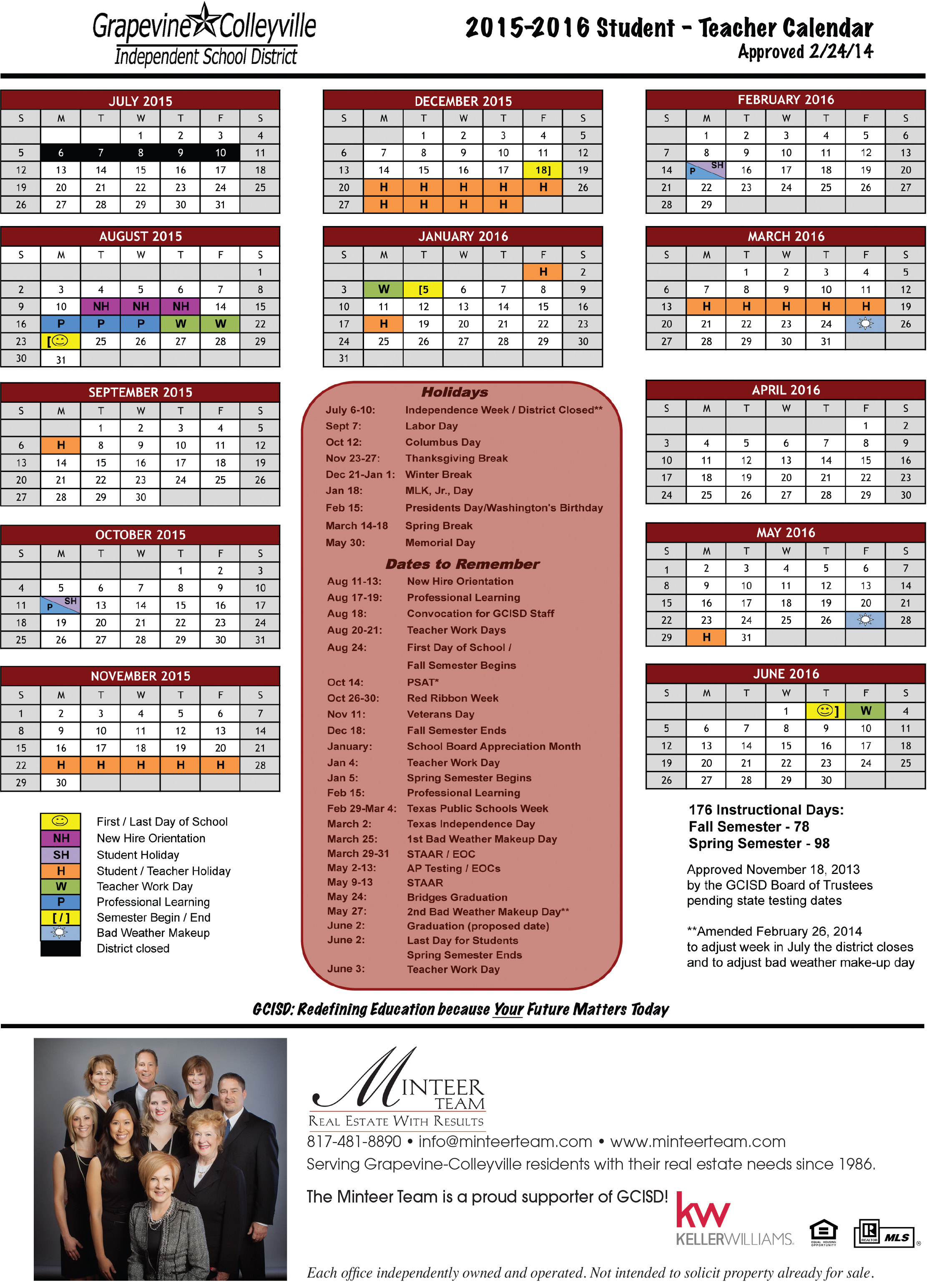 School Calendar for GCISD (2015 2016)   Minteer Real Estate Team